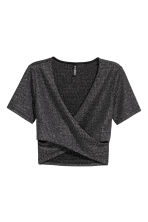 Short wrapover top - Black/Glitter - Ladies | H&M CN 2