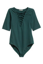 Body with lacing - Dark green - Ladies | H&M CN 2