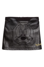 Imitation leather skirt - Black/Minnie Mouse - Kids | H&M CN 1