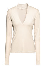 V-neck top - Light beige - Ladies | H&M CN 2