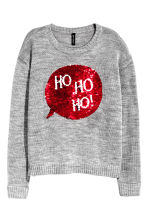 Christmas jumper with sequins - Grey marl - Ladies | H&M CN 2
