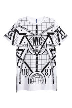 Long printed T-shirt - White/New York - Men | H&M CN 2