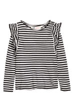 Frilled top - Black/White/Striped - Kids | H&M CN 2