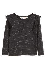 Frilled top - Black marl -  | H&M CN 2