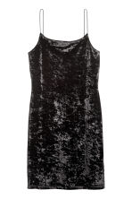 Short strappy dress - Black/Velvet - Ladies | H&M CN 1
