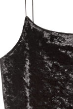 Short strappy dress - Black/Velvet - Ladies | H&M CN 2