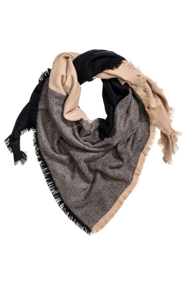 Block-coloured shawl - Black/Light beige - Ladies | H&M CN