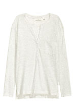 V-neck jersey top - Light grey marl - Ladies | H&M CN 2