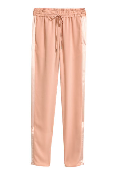 Joggers con bande in satin - Beige cipria - DONNA | H&M IT 1