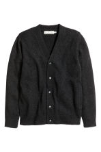 Wool-blend V-neck cardigan - Black marl - Men | H&M CN 2