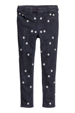 Patterned denim leggings - Dark blue/Stars - Kids | H&M CN 2