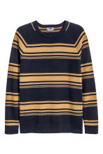 Jumper in premium cotton - Dark blue/Striped - Men | H&M CN 2