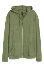 Rib-knit hooded jacket - Khaki green -  | H&M CN 2