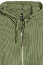 Rib-knit hooded jacket - Khaki green -  | H&M CN 3