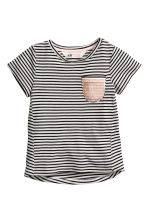 Striped jersey top - Black/White/Striped - Kids | H&M CN 2