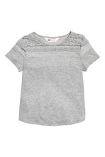 Jersey top with a lace yoke - Grey - Kids | H&M CN 2
