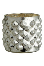 Glass tealight holder - Silver - Home All | H&M CN 2
