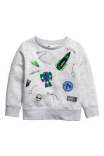 Printed sweatshirt - Light grey/Space - Kids | H&M CN 2