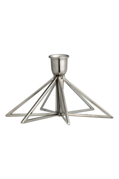Metal candlestick - Silver - Home All | H&M CN 1