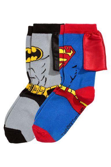 2-pack socks - Grey Batman/Superman - Kids | H&M CN 1