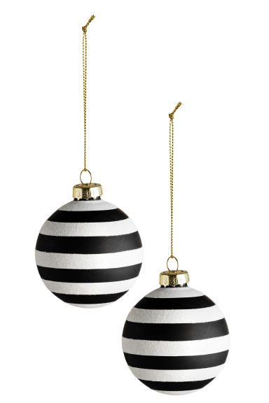 2-pack Christmas tree baubles - White/Black - Home All | H&M CN 1