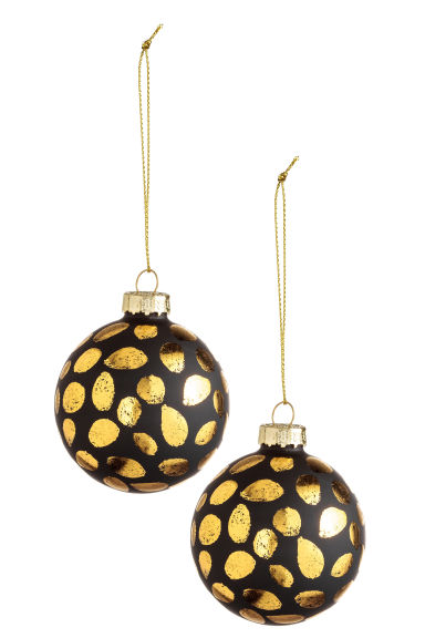 2-pack Christmas decorations - Black/Gold - Home All | H&M CN 1