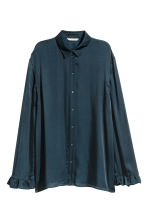 Frilled blouse - Dark blue - Ladies | H&M CN 2