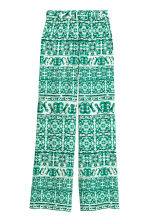 Wide trousers - White/Green patterned - Ladies | H&M CN 2