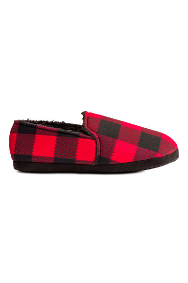 Pile-lined slippers - Red/Checked - Men | H&M CN 1