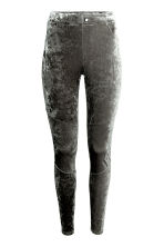 Crushed velvet leggings - Dark grey - Ladies | H&M CN 2