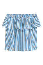 Strapless flounced top - Blue/Striped - Ladies | H&M CN 2