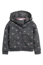 Hooded jacket - Dark grey/Hearts - Kids | H&M CN 2