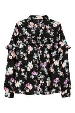 Shirt with a frilled yoke - Black/Roses - Ladies | H&M CN 2
