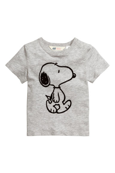 Printed T-shirt - Grey/Snoopy - Kids | H&M CN