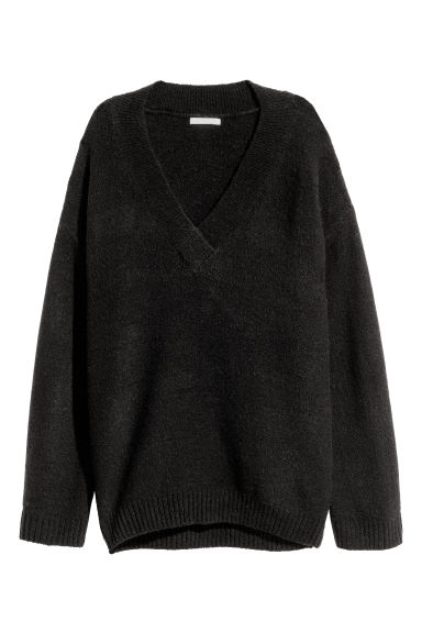 Pull à encolure en V - Noir -  | H&M BE 1