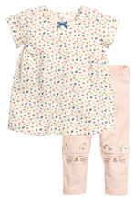 Dress and leggings - Natural white/Floral - Kids | H&M CN 1