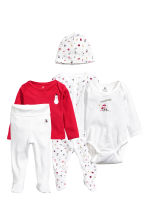 5-piece jersey set - Red/Snowman - Kids | H&M CN 1