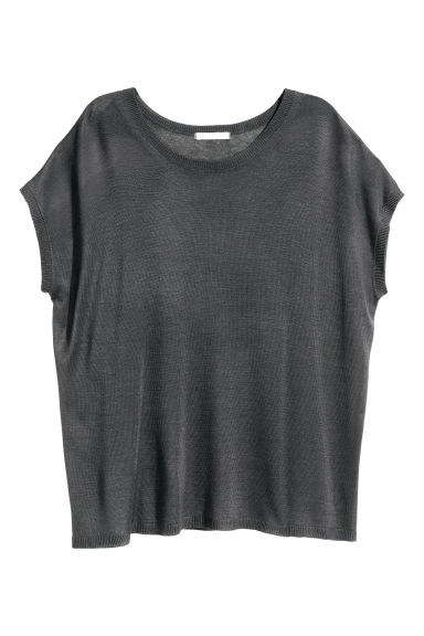 Fine-knit top - Dark grey - Ladies | H&M CN