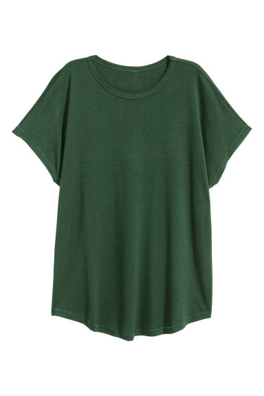 Wide jersey top - Dark green - Ladies | H&M CN 1