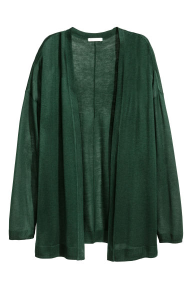 Fine-knit cardigan - Dark green - Ladies | H&M CN