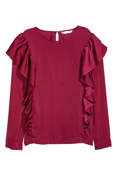 Satin blouse with frills - Burgundy - Ladies | H&M CN 1