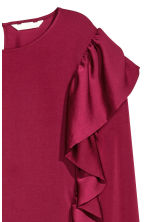 Satin blouse with frills - Burgundy - Ladies | H&M CN 2