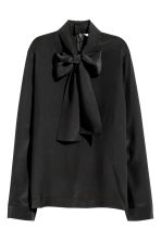 Silk pussy bow blouse - Black - Ladies | H&M 2