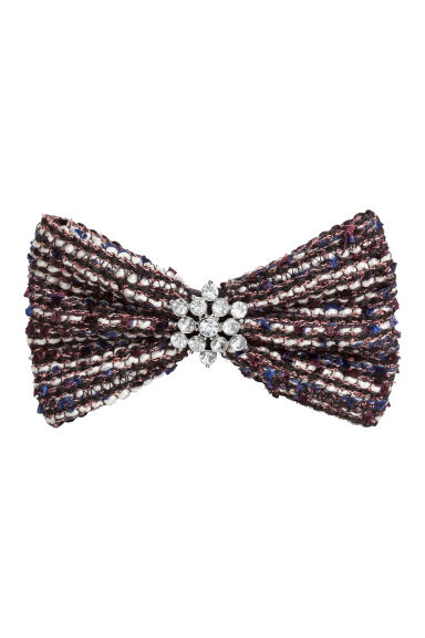 Hair clip with a bow - Dark blue/White - Ladies | H&M CN 1