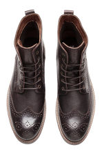Brogue-patterned leather boots - Dark brown - Men | H&M CN 2