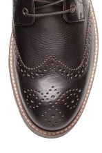 Brogue-patterned leather boots - Dark brown - Men | H&M CN 3