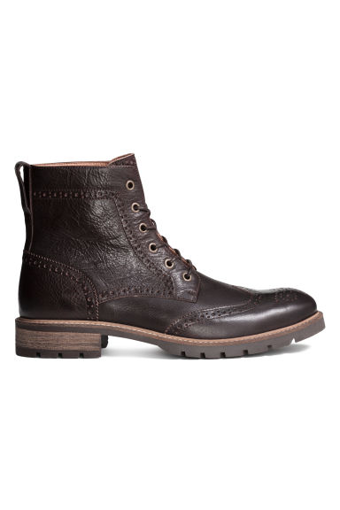 Brogue-patterned leather boots - Dark brown - Men | H&M CN 1