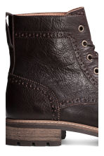 Brogue-patterned leather boots - Dark brown - Men | H&M CN 4