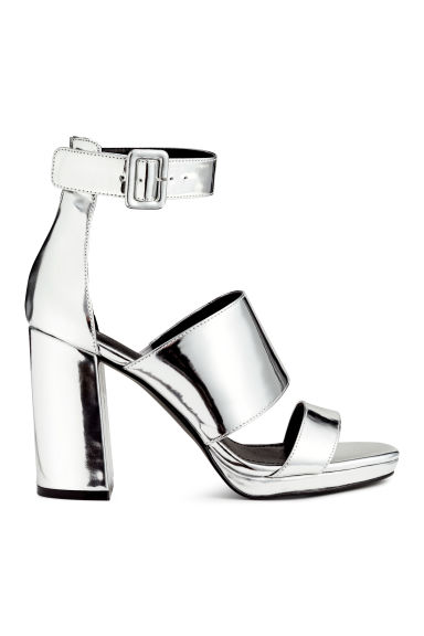 Patent sandals - Silver - Ladies | H&M CN 1