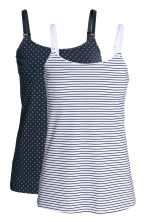 MAMA 2-pack nursing tops - Dark blue/Spotted - Ladies | H&M CN 2